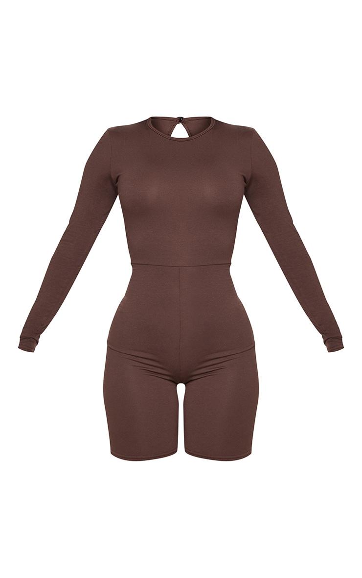 Shape Chocolate Brown Jersey Long Sleeve Unitard  3