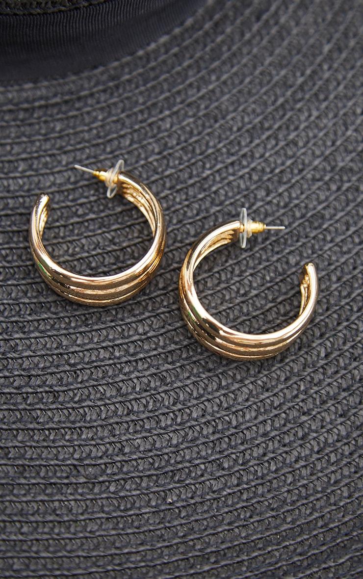 Gold 3 Pack Ribbed Assorted Hoop Earrings 3