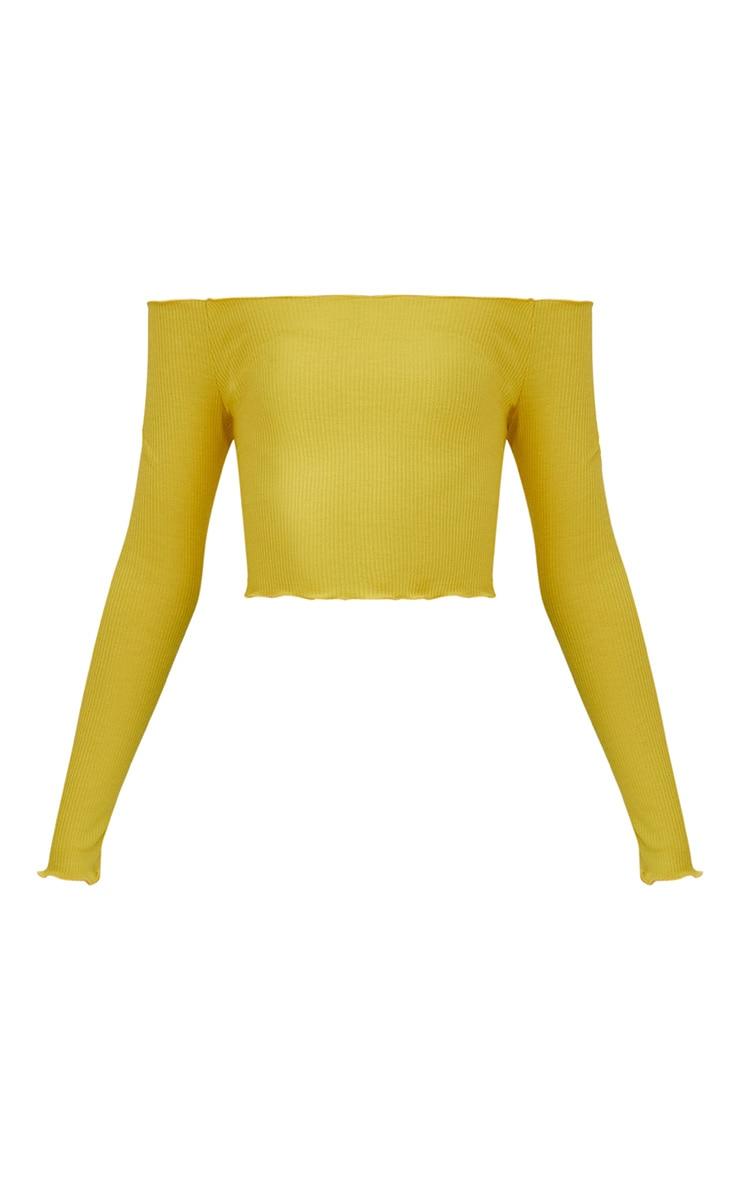 Yellow Frill Edge Crop Top 3