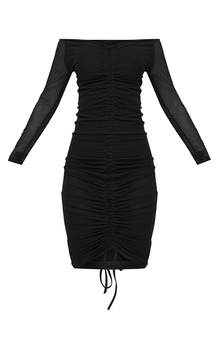 Shape Black Mesh Ruched Bardot Midi Dress 3