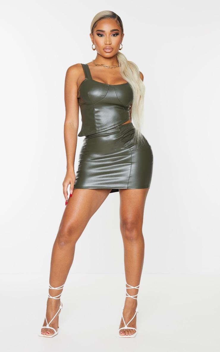 Shape Khaki PU Seam Detail Bodycon Skirt 1