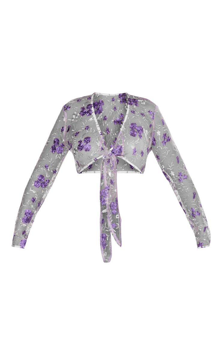 Lilac Embroidered Mesh Tie Front Crop Top  3