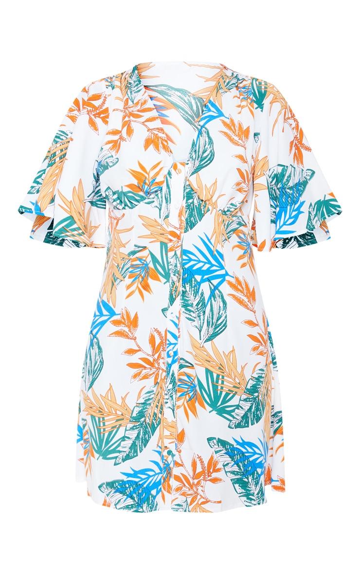 White Tropical Floral Kimono Button Through Shift Dress 3