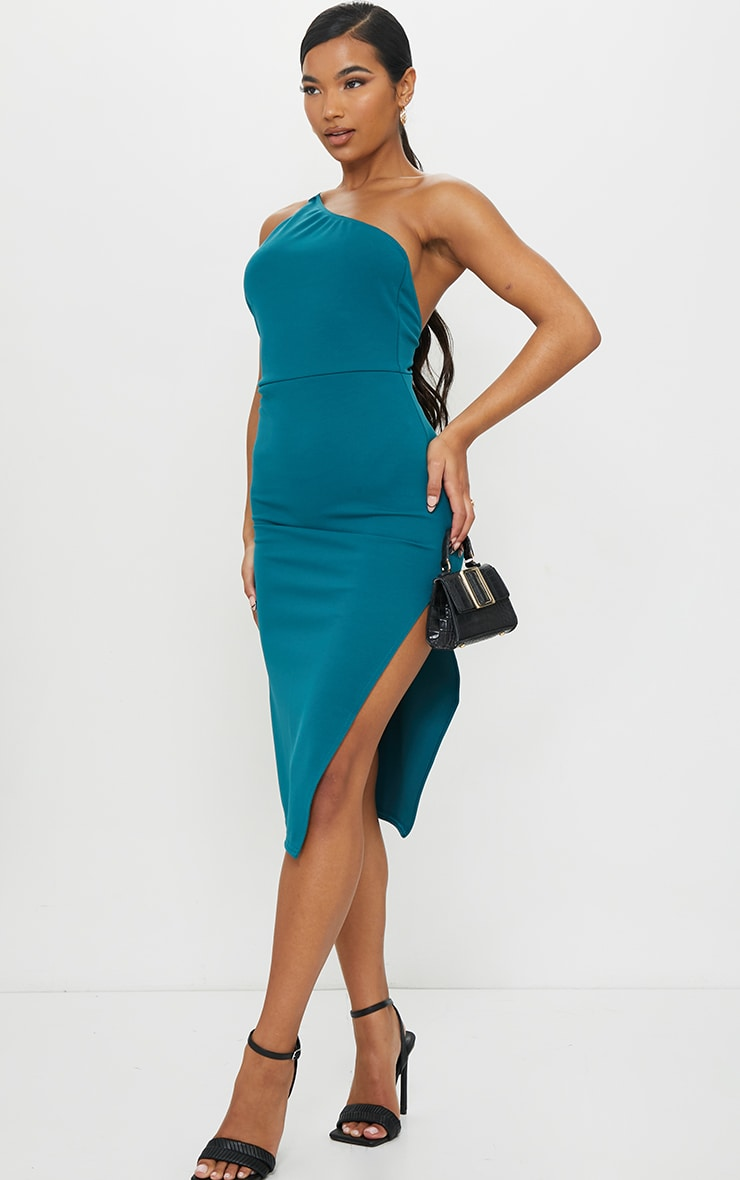 Emerald Green Strappy One Shoulder Midi Dress 3