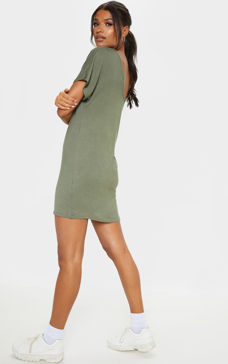 Basic Khaki V Neck T Shirt Dress 2