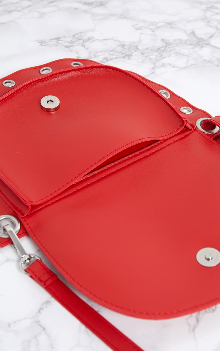 Red Rounded Eyelet Detail Bum Bag 5