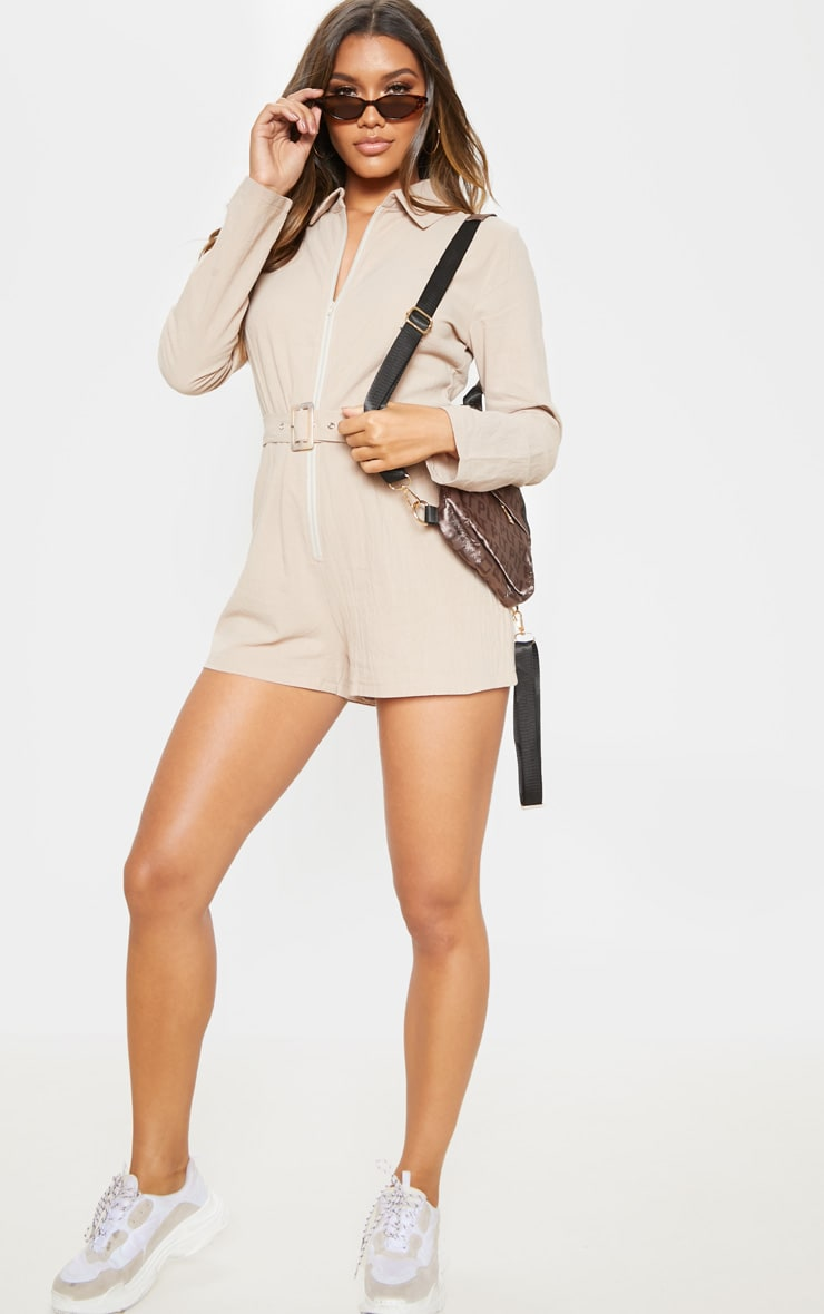 Stone Long Sleeve Belted Playsuit 4