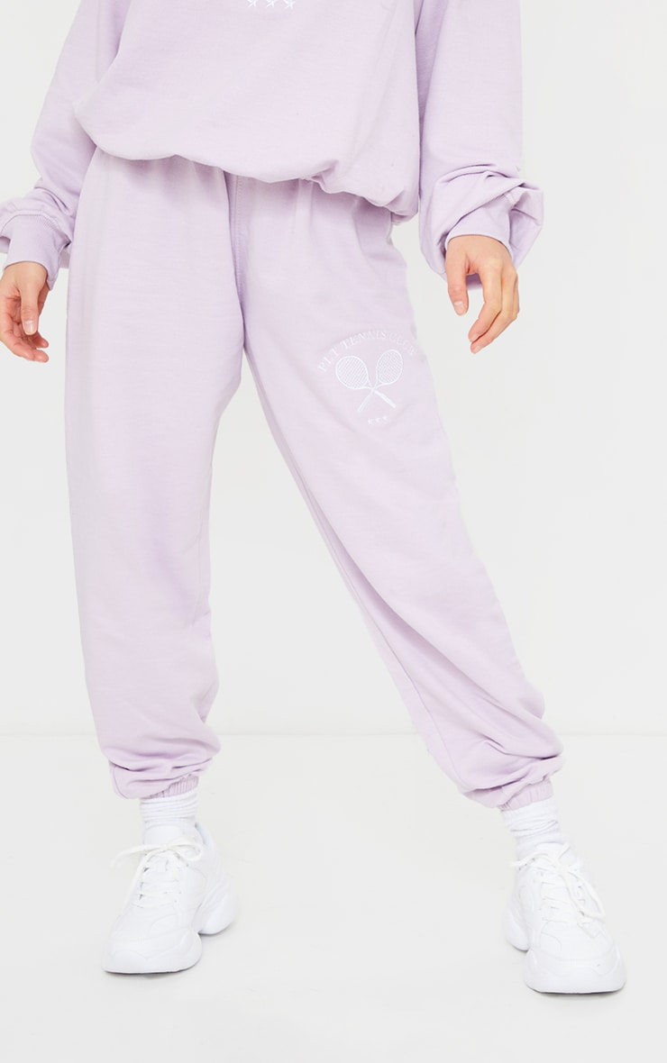 PRETTYLITTLETHING Petite Lilac Tennis Club Oversized Joggers 2