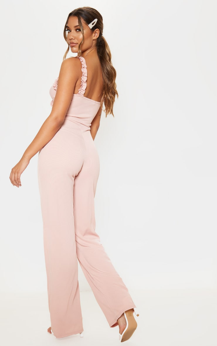 Blush Rib Ruffle Detail Jumpsuit 2