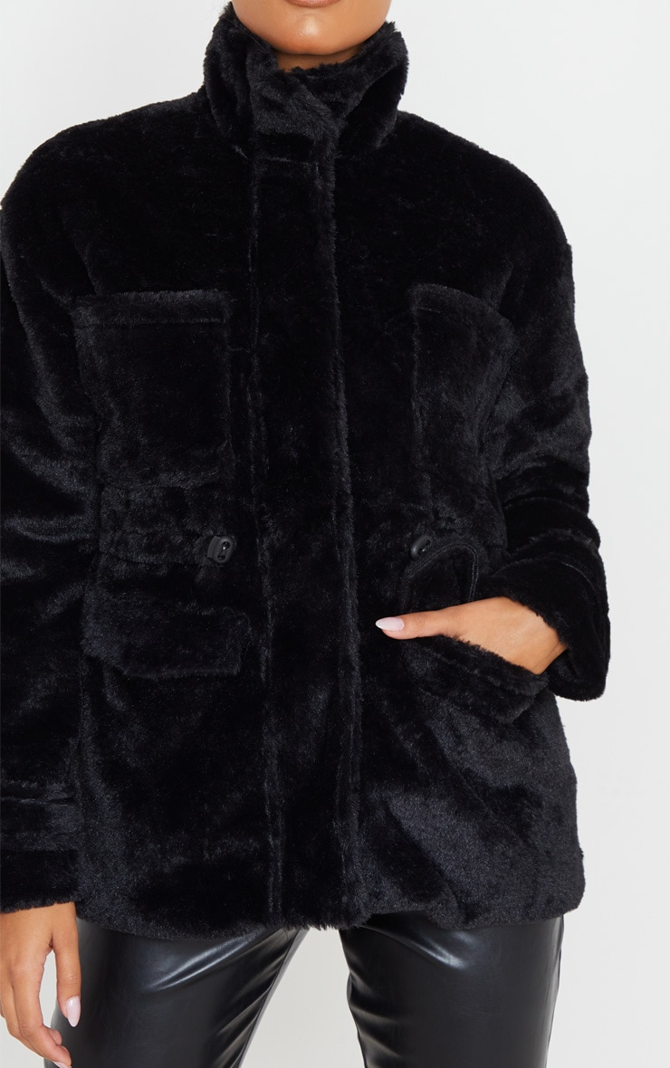 Black Faux Fur Gathered Waist Jacket 5
