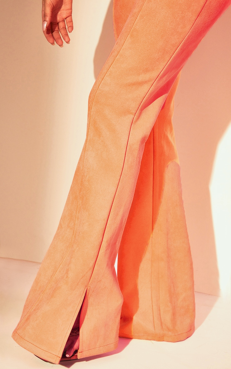 Coral Bonded Suede Flare Pants 4