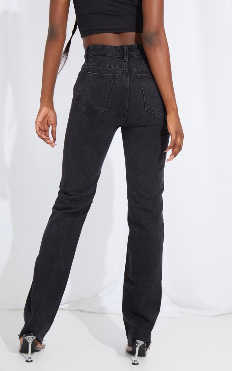 Tall Black Extra Long Distressed Straight Leg Jean 3