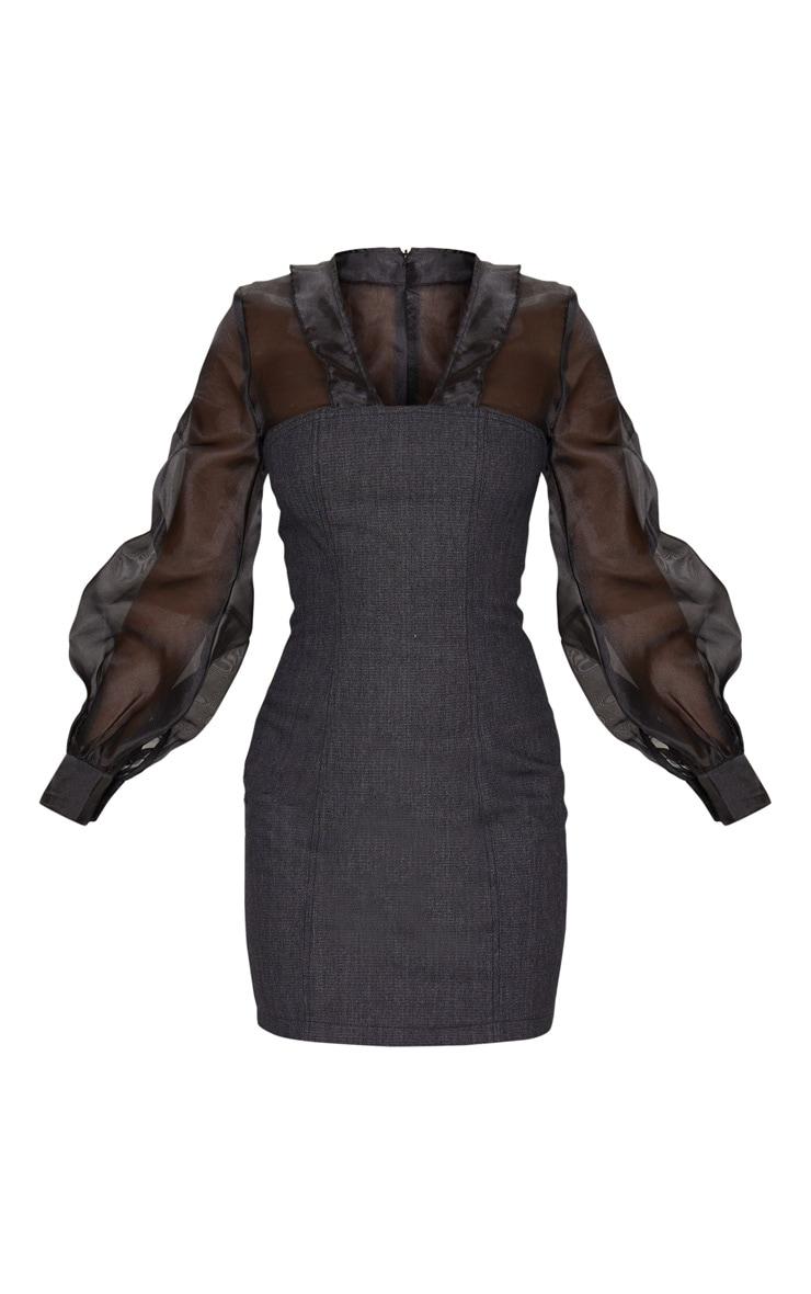 Petite - Robe moulante à base en jean noir et manches en mousseline de soie  3