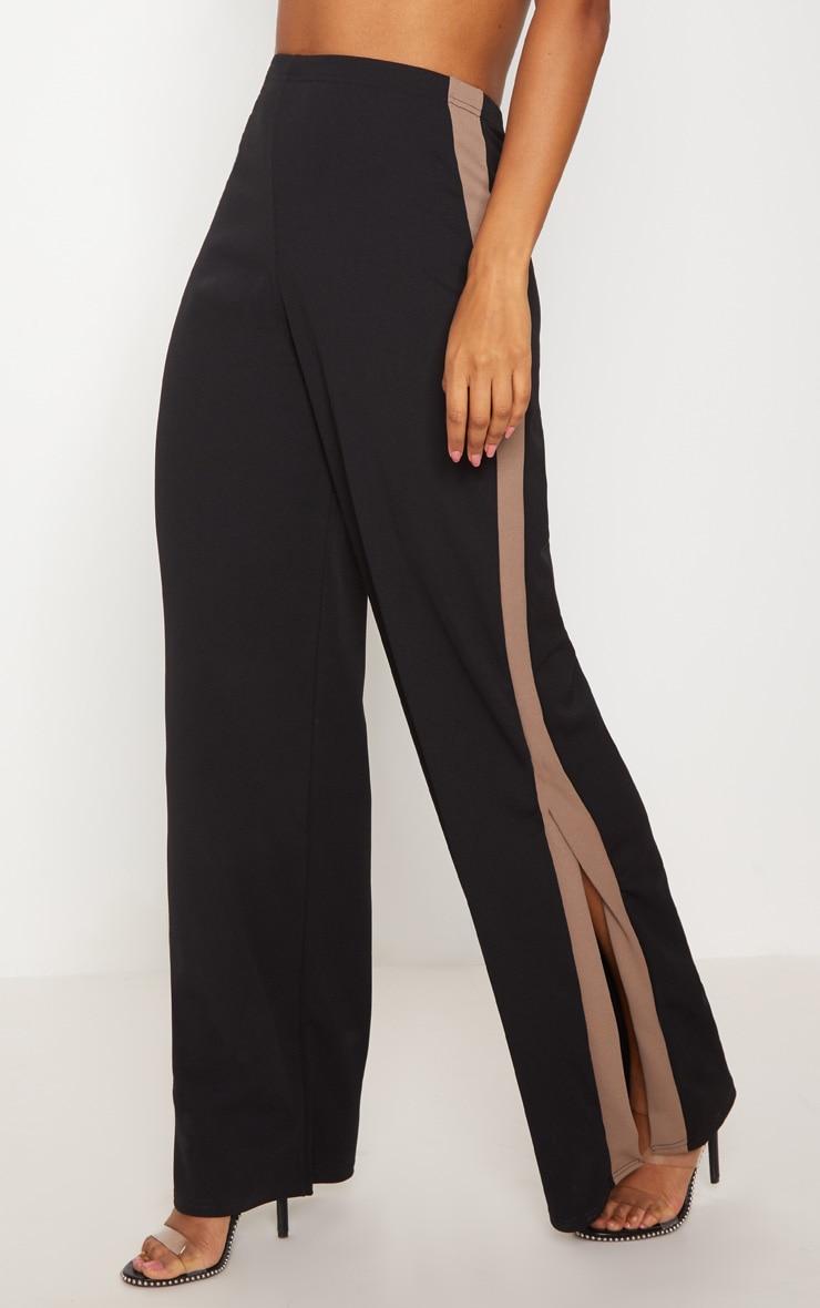 Black Contrast Side Panel Split Hem Wide Leg Trouser 2