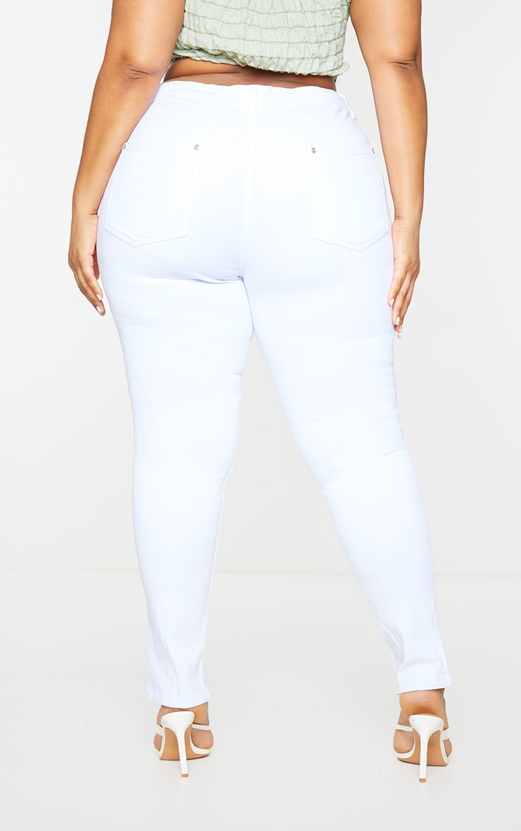 Plus White Split Front Hem Skinny Jeans 3