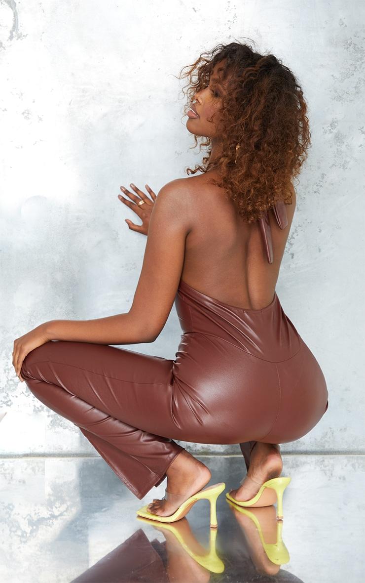 Chocolate Pu Knot Detail Split Hem Jumpsuit 2