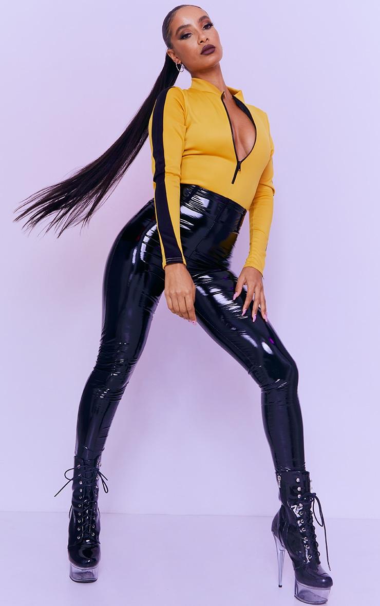 Yellow Scuba Long Sleeve Contrast Zip Bodysuit 3