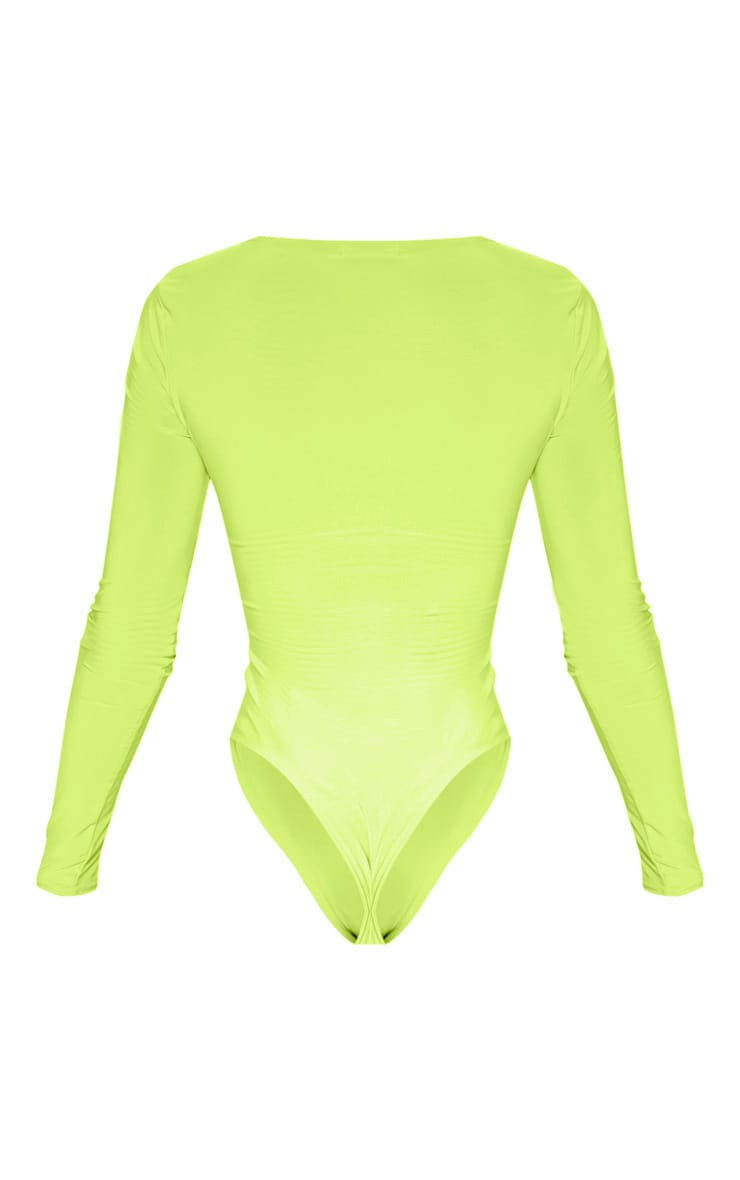 Neon Lime Slinky Front Cut out Bodysuit 4