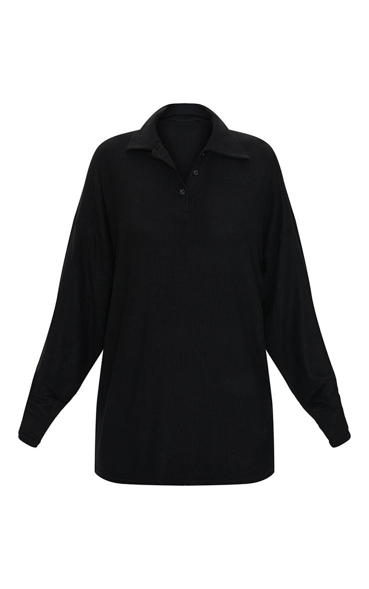 Black Brushed Rib Oversized Longline Polo Top 5