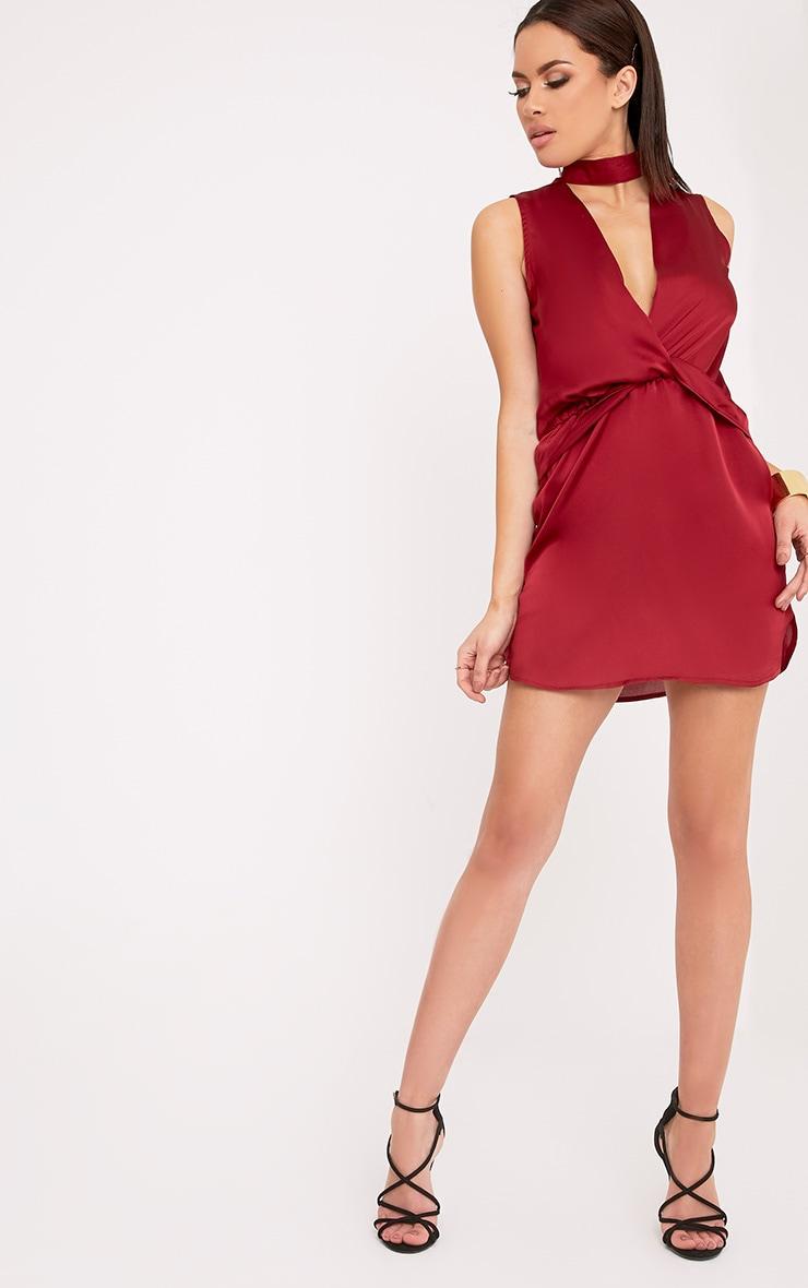 Kaitlyn Burgundy Satin Choker Twist Front Shift Dress  4