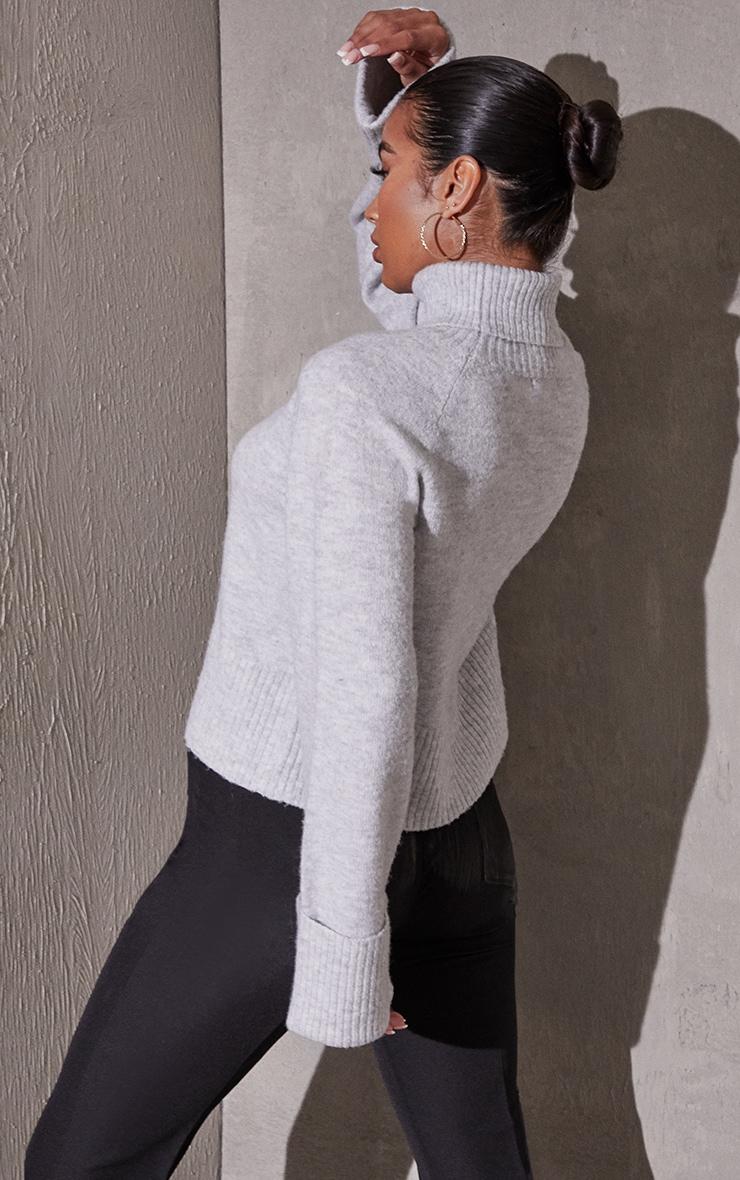 Light Grey Deep Cuff Roll Neck Sweater 2