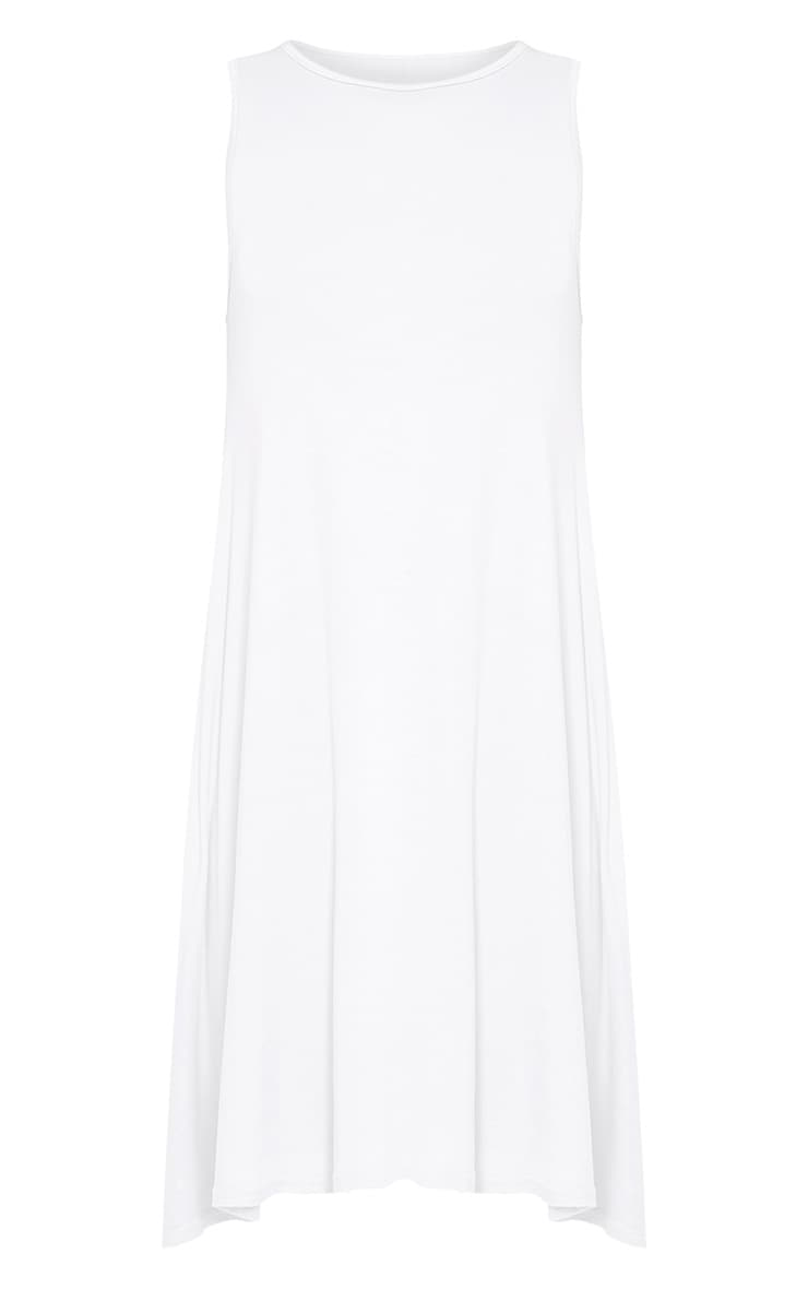 Basic White Sleeveless Swing Dress 3