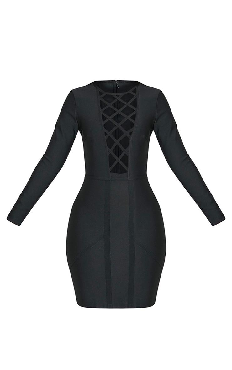 Dakota Premium robe moulante bandage treillis noire 3