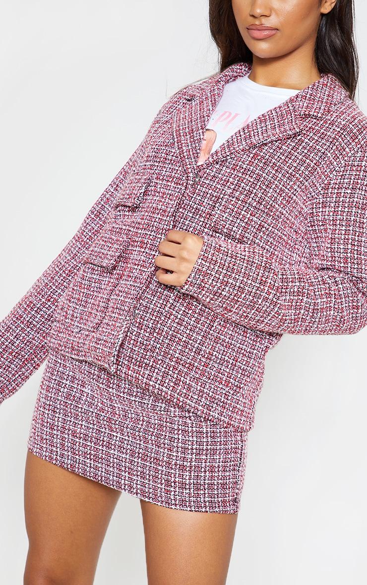 Red Tartan Boucle Button Detail Jacket 6