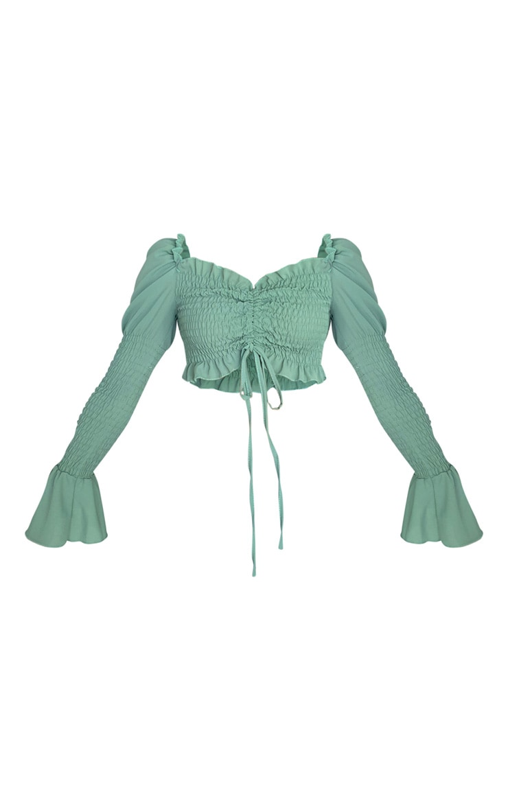 Green Chiffon Long Sleeve Bardot Crop Top 1