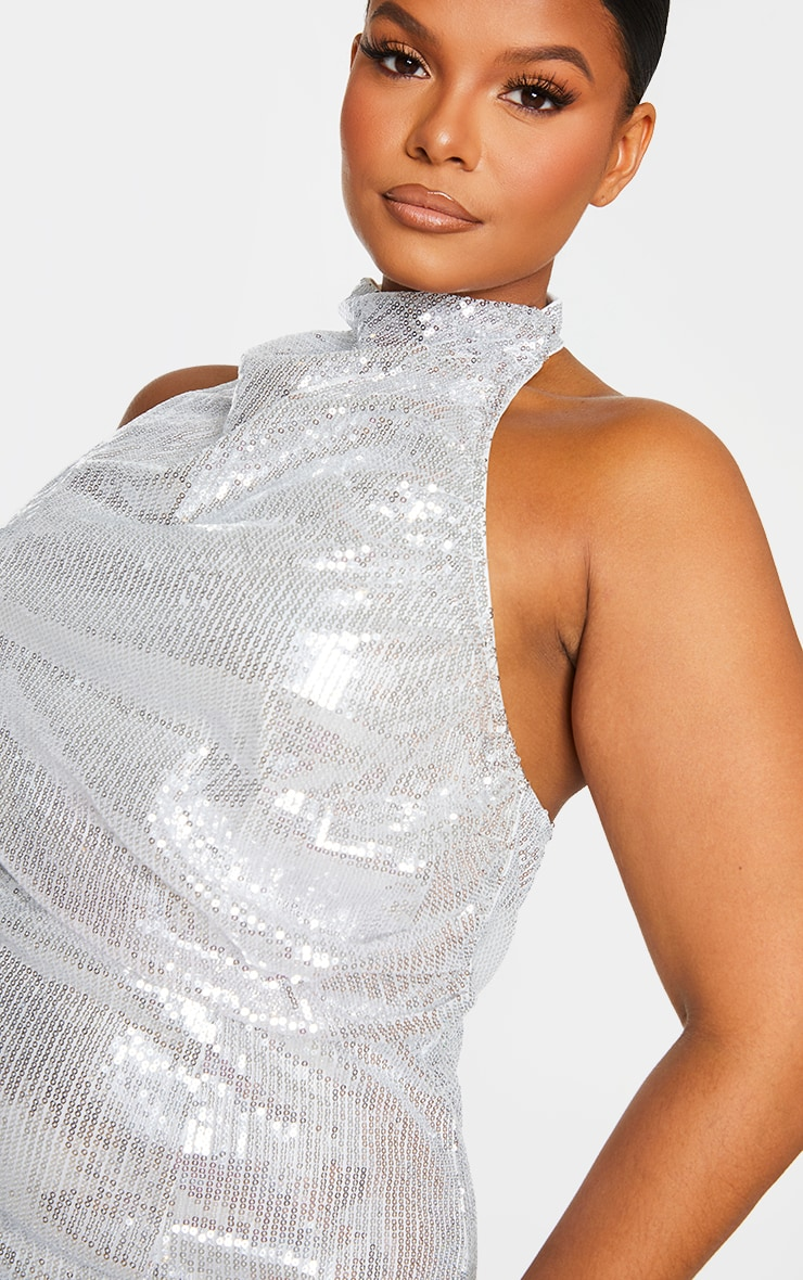 Plus Silver Sequin Halterneck Backless Bodycon Dress 5