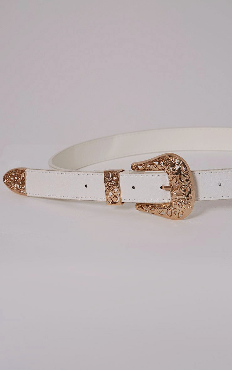 Madina White Gold Buckle Belt 2