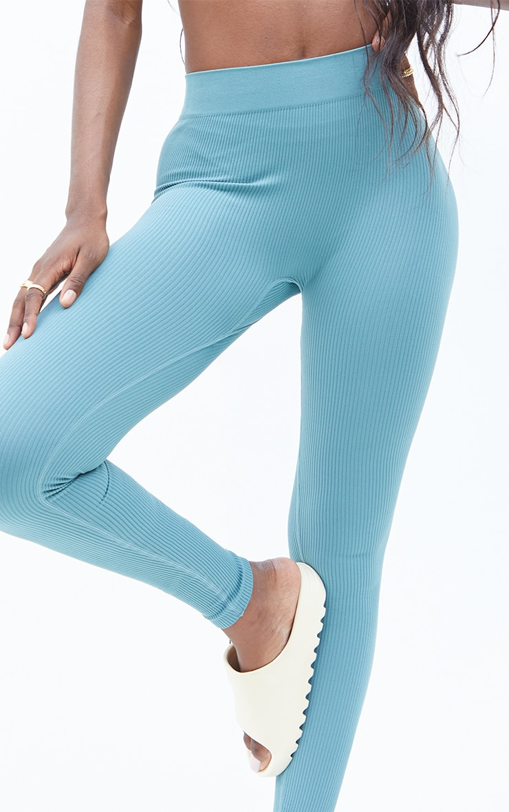 Tall Mineral Blue Structured Contour Ribbed Leggings 4