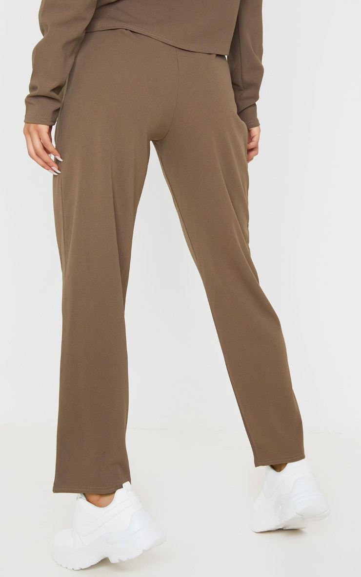 Mocha High Waisted Pleat Detail Tapered Trouser 4
