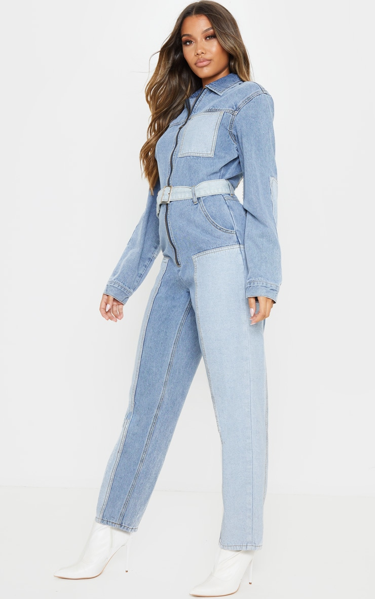 Mid Blue Wash Two Tone Oversized Belted Denim Boilersuit 4
