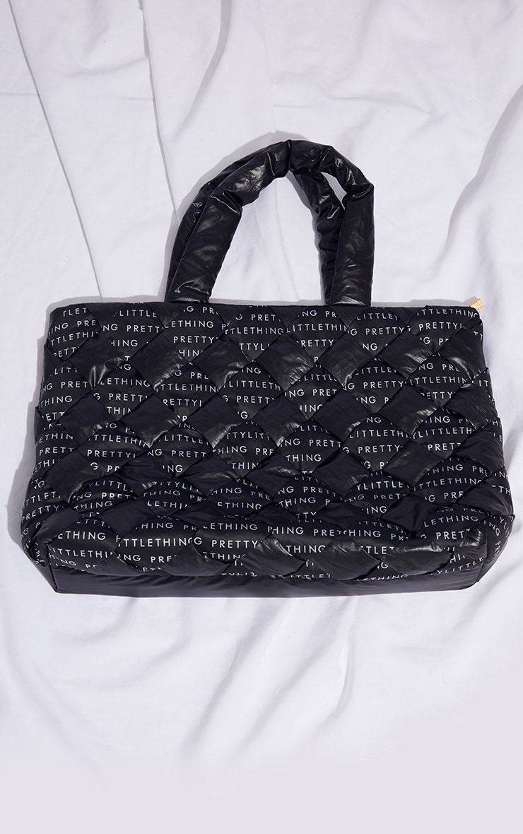 PRETTYLITTLETHING Black Woven Tote Bag 2