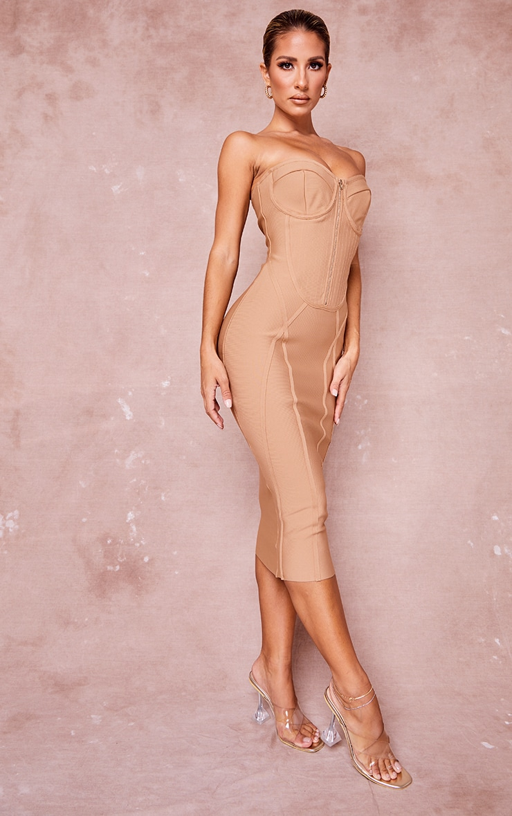 Stone Bandage Bandeau Zip Detail Midi Dress 3