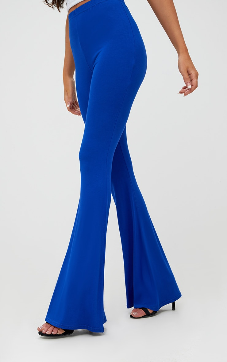 Cobalt Jersey Flared Trousers 5