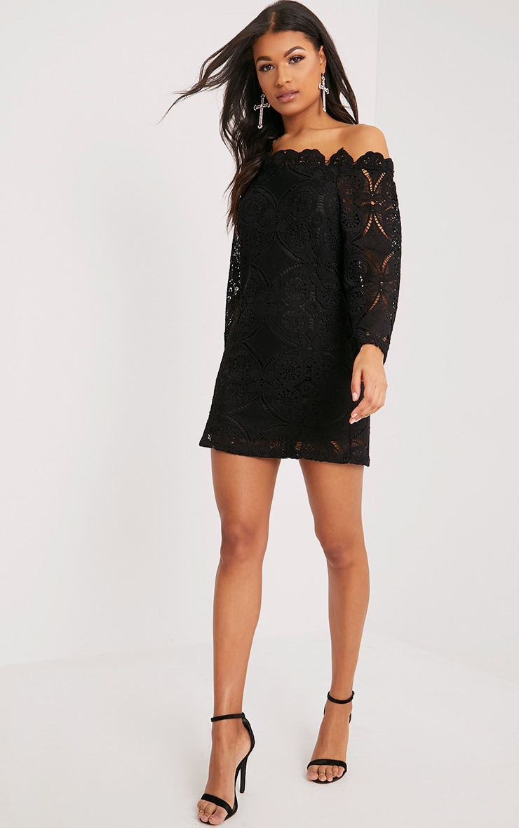 Gracie Black Bardot Lace Swing Dress 3