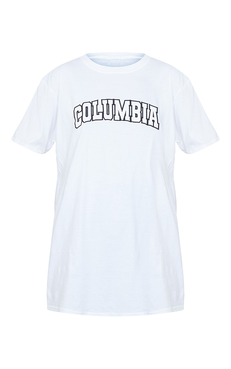 White Colombia Slogan Embroidered T Shirt 5