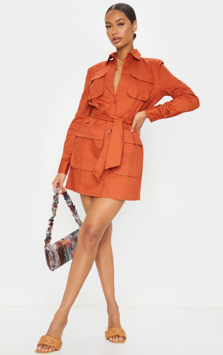 Terracotta Utility Tie Waist Shirt Dress 3