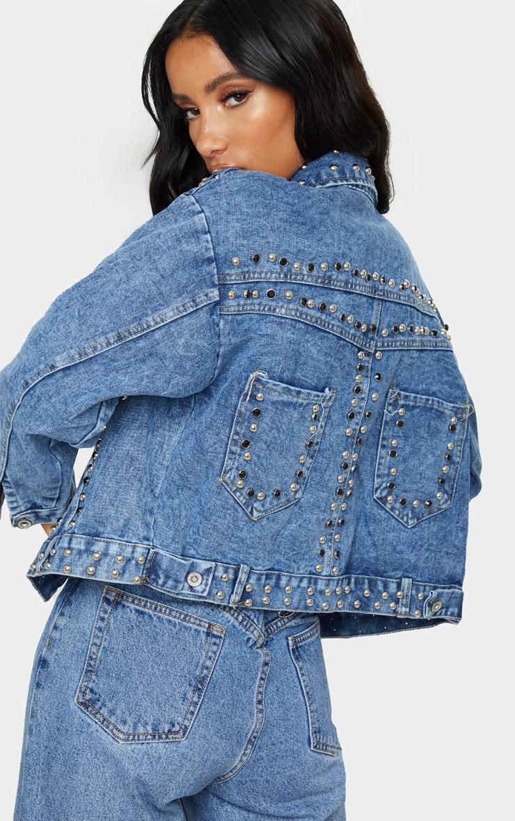 Mid Wash Studded Oversized Denim Jacket 4