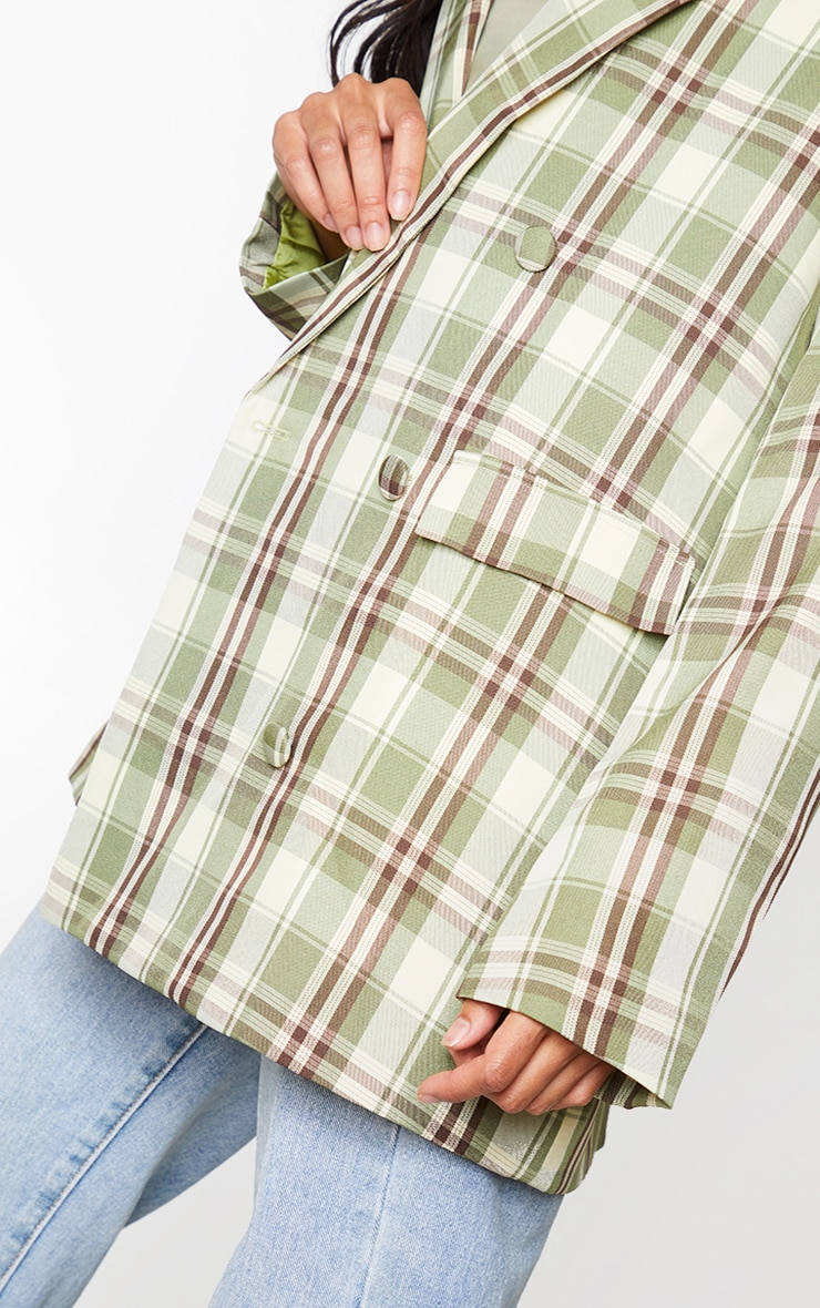 Green Woven Checked Double Breasted Oversized Blazer 4