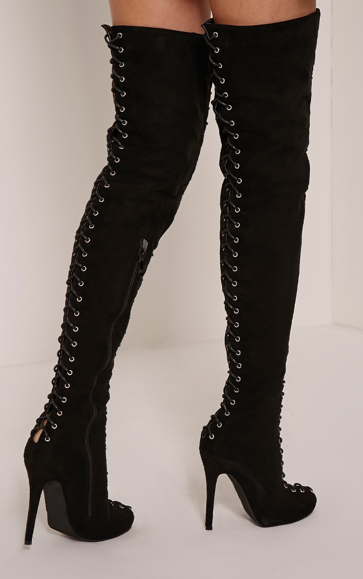 Nalah Black Suede Lace Detail Thigh High Boots 2