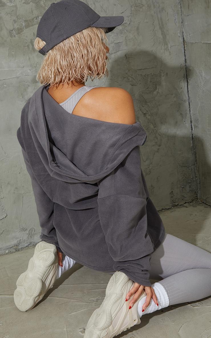 Charcoal Half Zip Hooded Fleece 2