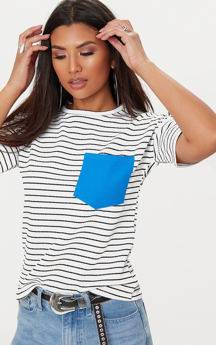 White Pocket Contrast Stripe T Shirt 1