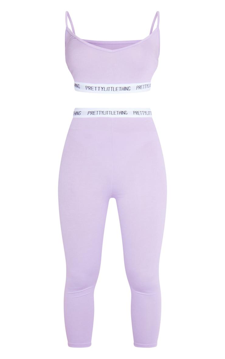 PRETTYLITTLETHING Lilac Bralet And Crop Legging Set 5