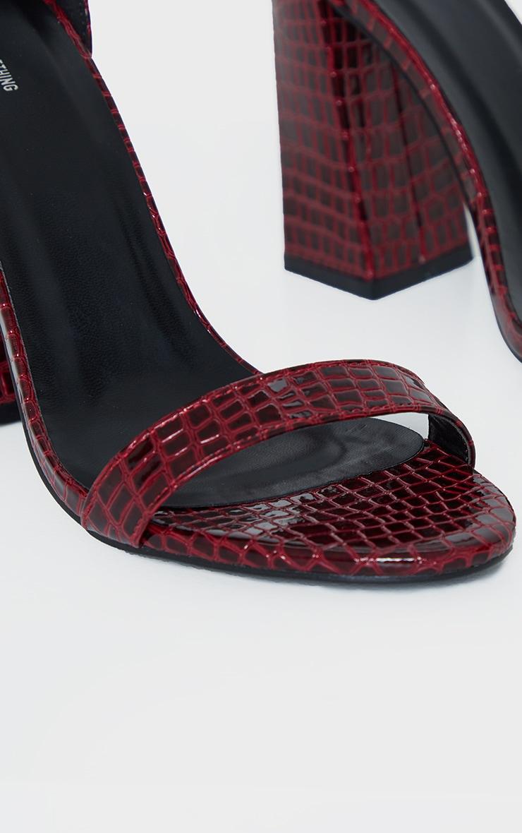 Burgundy Snake Square Buckle Ankle Strap Block Heel Sandal 5