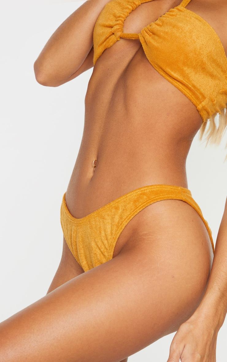 Mustard Towel Ruched Back High Leg Bikini Bottom 4