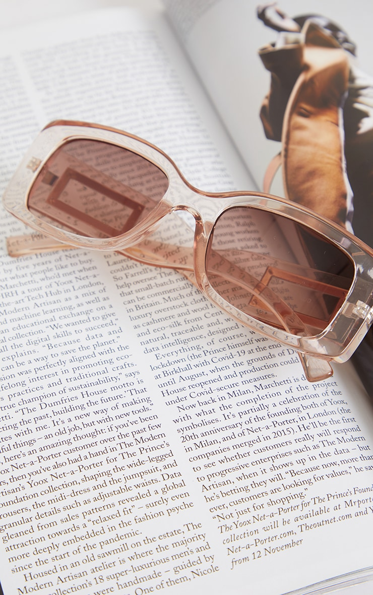 Clear Frame Brown Lens Chunky Square Sunglasses 3
