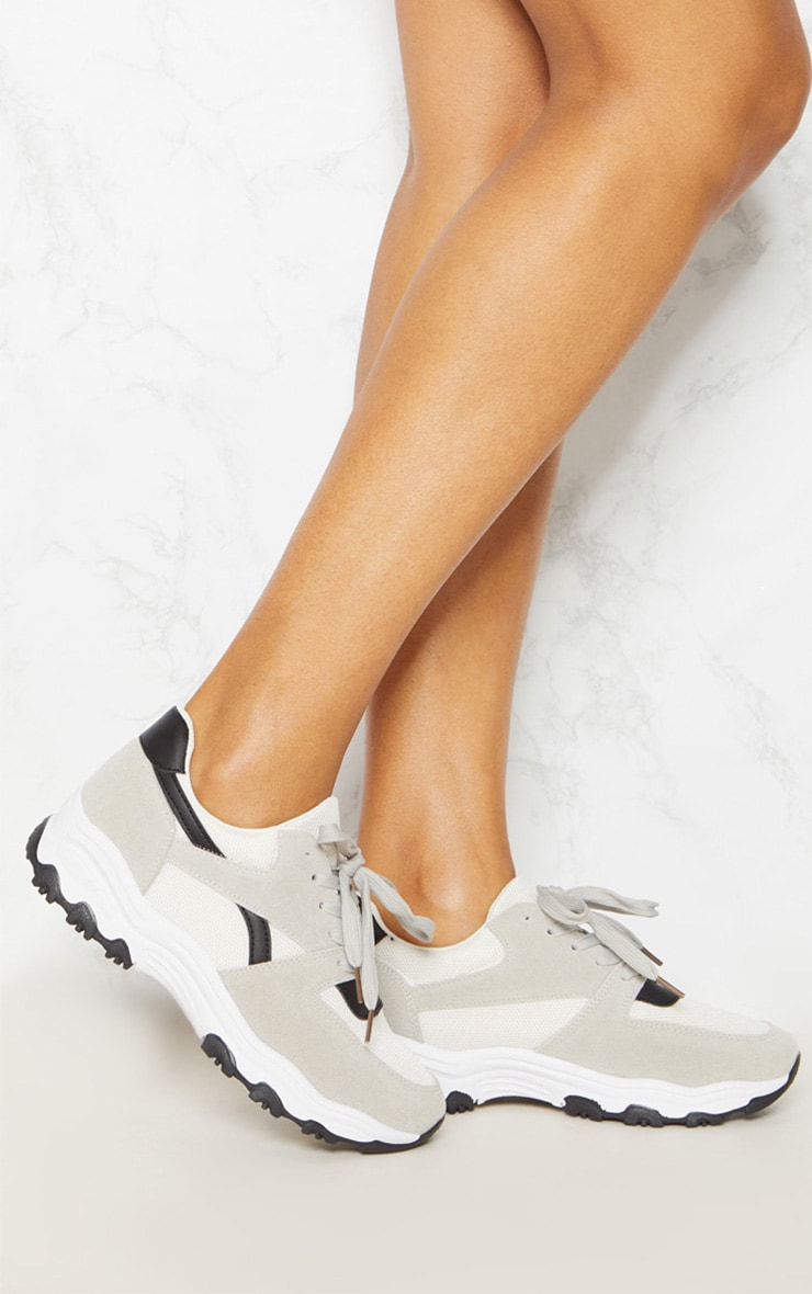 Grey Lace Up Chunky Trainer 1